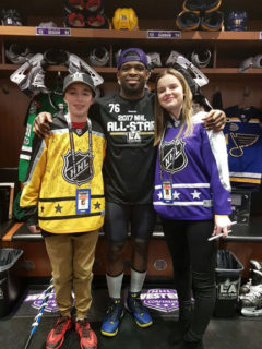 Toronto Royals forward Colton Stothers, wearing the yellow jersey, strikes a pose with P.K. Subban and Tori Dimytruk, a Whitby native, before the NHL All-Star Game in Los Angeles. Subban shared the photo to his more than 900,000 Twitter followers.